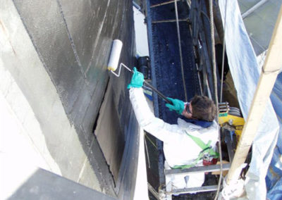 carbon fiber being installed on degrading tank
