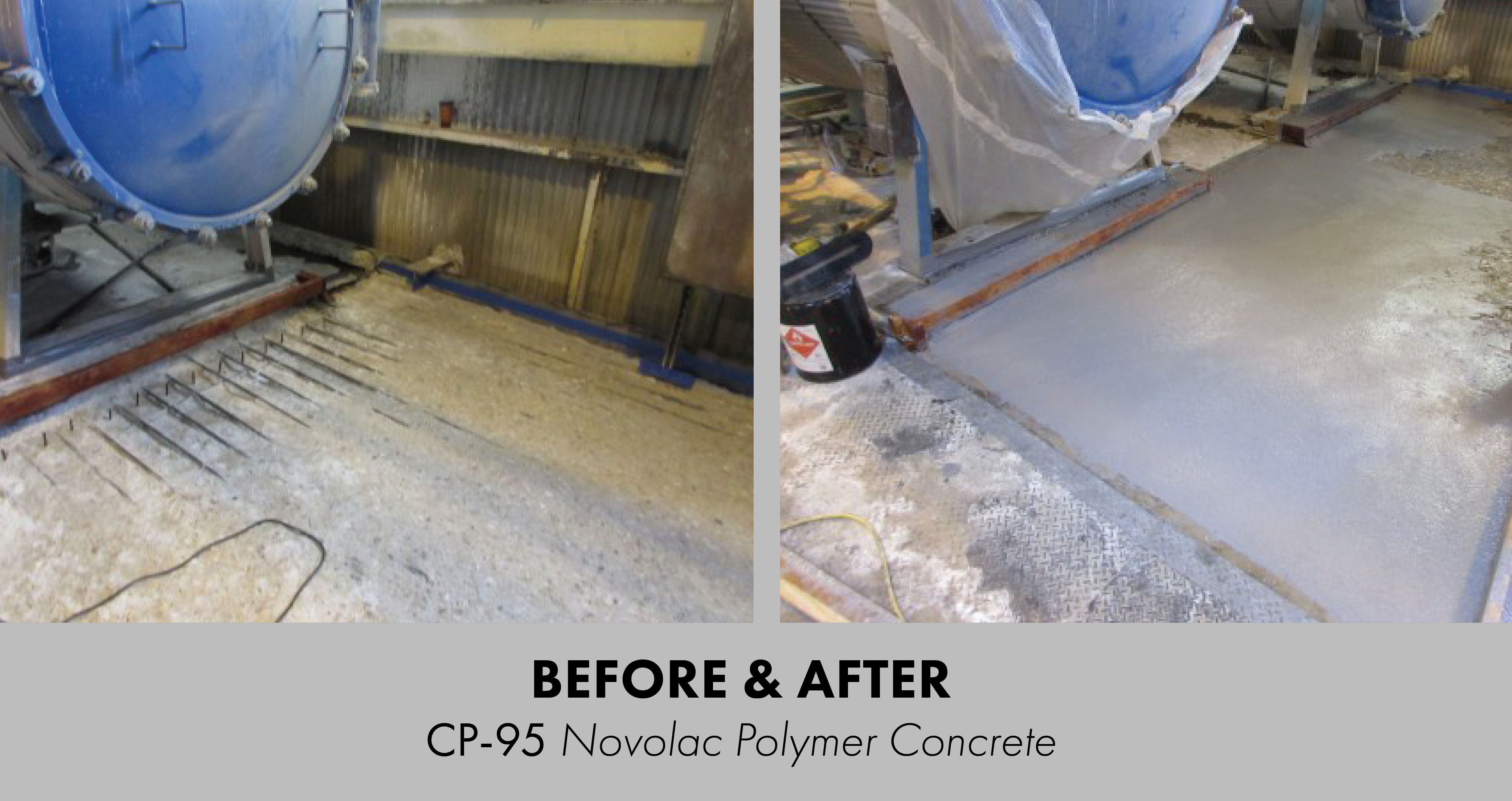 A before and after of a damaged floor being repaired with polymer concrete