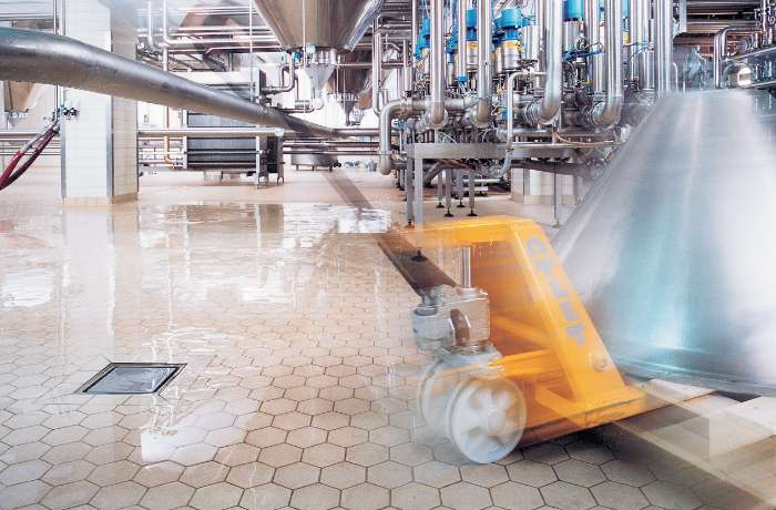 tile flooring at food and beverage plant