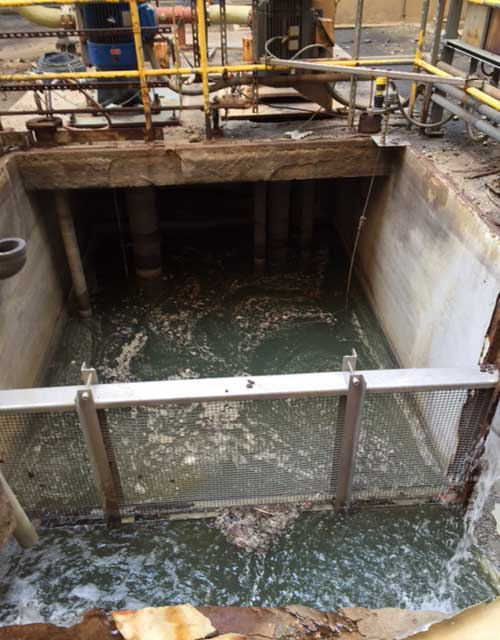 corroded sump at power plant