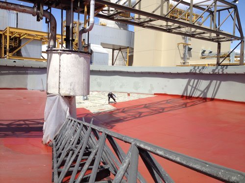 industrial coating on a clarifier floor